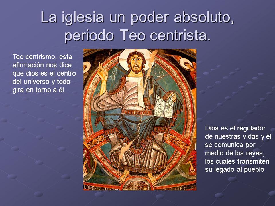 La iglesia un poder absoluto, periodo Teo centrista. Teo centrismo, esta afirmación nos dice que dios es el centro del universo y todo gira en torno a