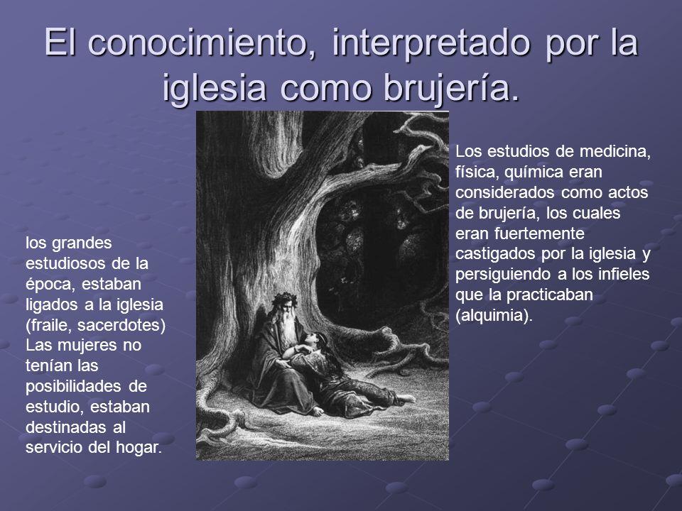 El conocimiento, interpretado por la iglesia como brujería. Los estudios de medicina, física, química eran considerados como actos de brujería, los cu