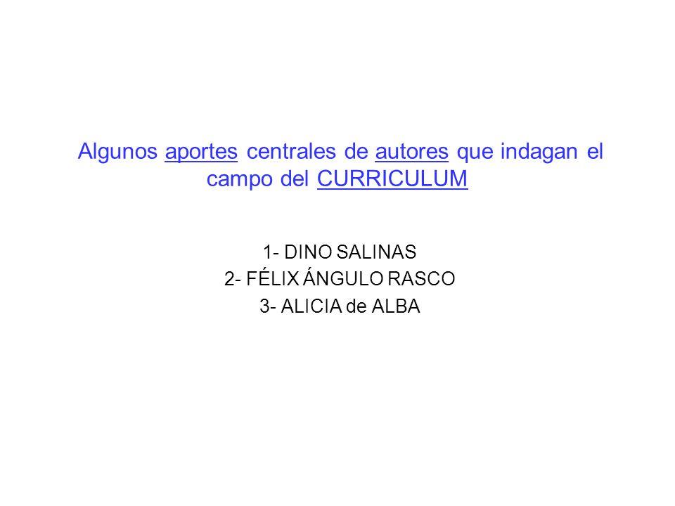 Algunos aportes centrales de autores que indagan el campo del CURRICULUM 1- DINO SALINAS 2- FÉLIX ÁNGULO RASCO 3- ALICIA de ALBA