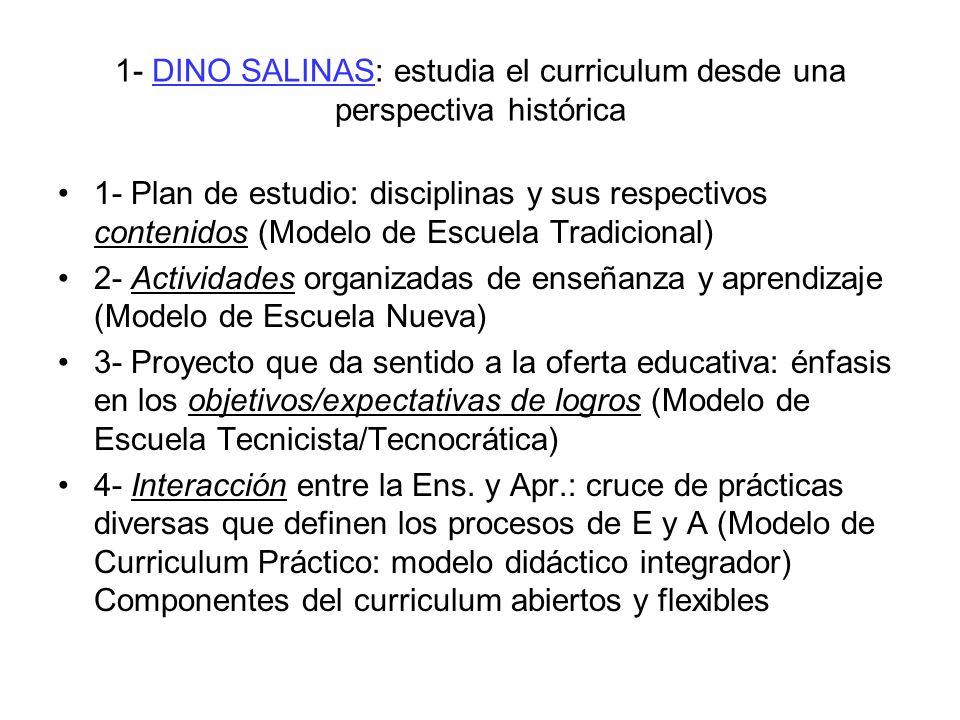 1- DINO SALINAS: estudia el curriculum desde una perspectiva histórica 1- Plan de estudio: disciplinas y sus respectivos contenidos (Modelo de Escuela