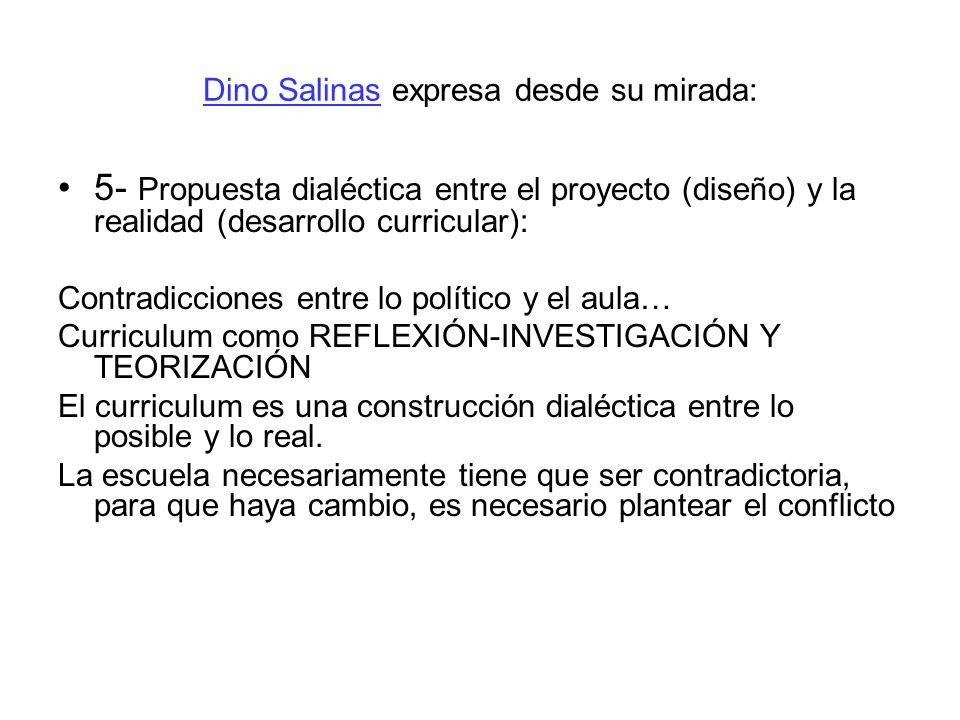 Dino Salinas expresa desde su mirada: 5- Propuesta dialéctica entre el proyecto (diseño) y la realidad (desarrollo curricular): Contradicciones entre