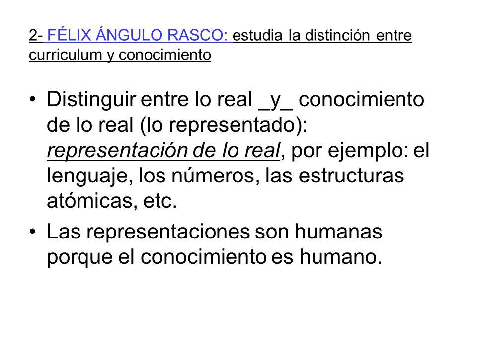 2- FÉLIX ÁNGULO RASCO: estudia la distinción entre curriculum y conocimiento Distinguir entre lo real _y_ conocimiento de lo real (lo representado): representación de lo real, por ejemplo: el lenguaje, los números, las estructuras atómicas, etc.