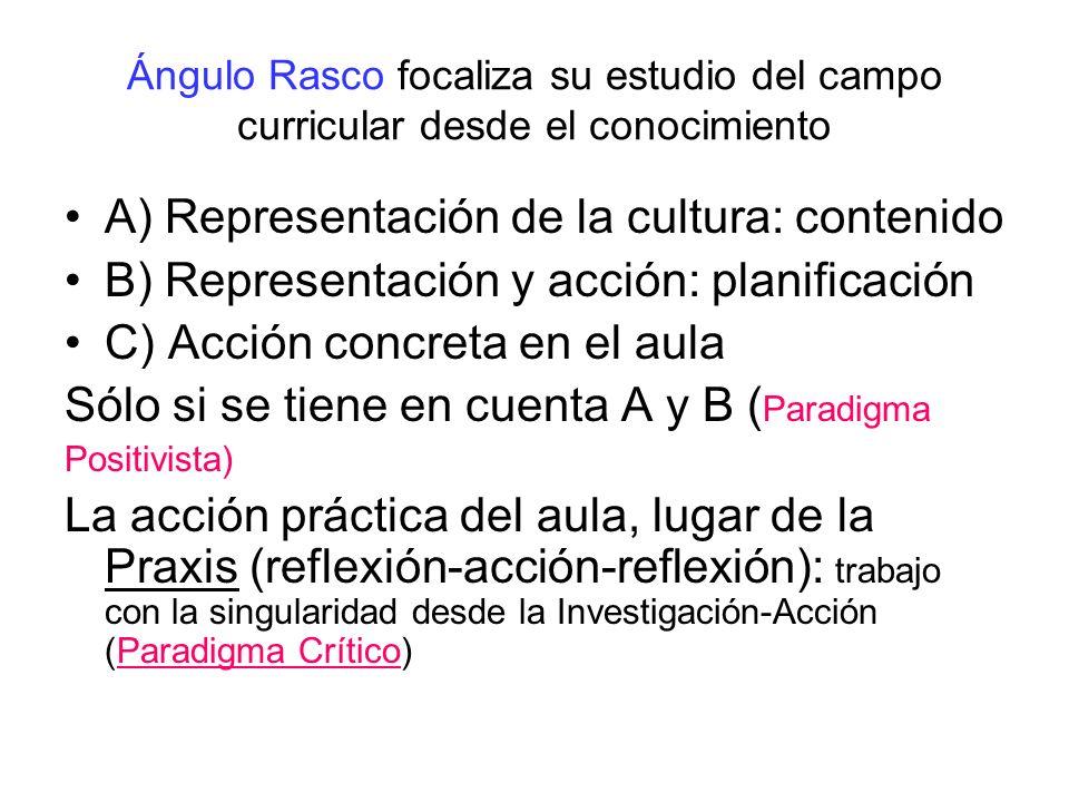 Ángulo Rasco focaliza su estudio del campo curricular desde el conocimiento A) Representación de la cultura: contenido B) Representación y acción: pla