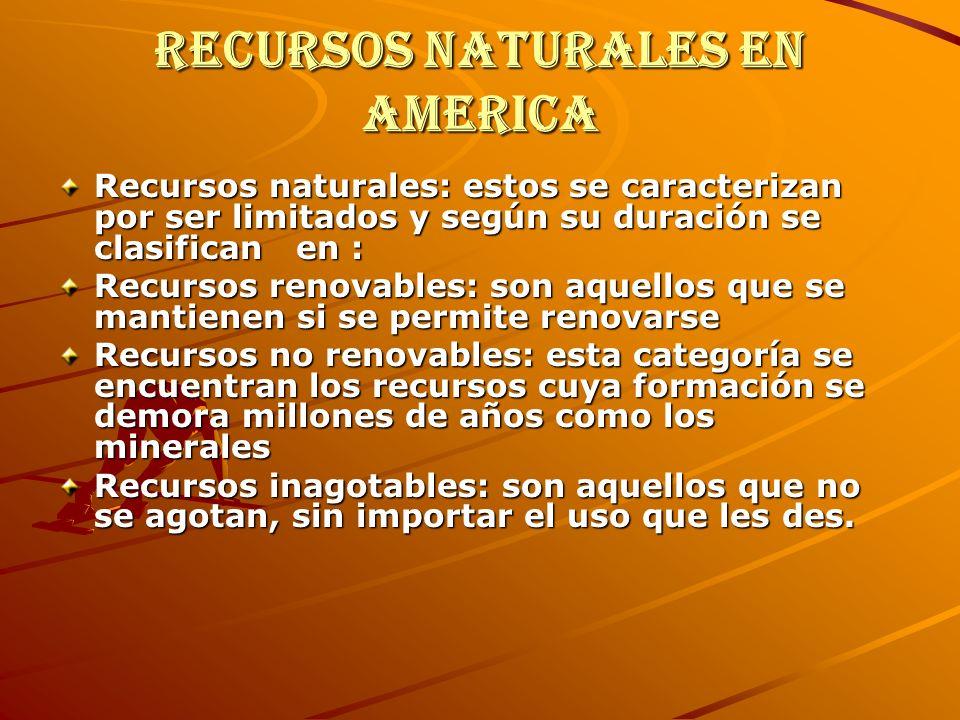 Recursos naturales en America Recursos naturales: estos se caracterizan por ser limitados y según su duración se clasifican en : Recursos renovables: