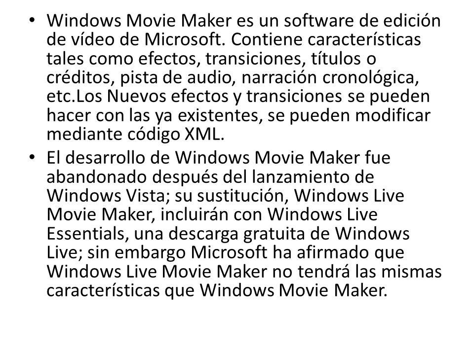 Windows Movie Maker es un software de edición de vídeo de Microsoft. Contiene características tales como efectos, transiciones, títulos o créditos, pi