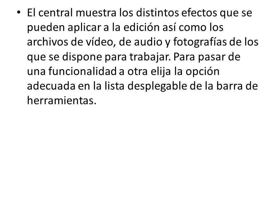 El central muestra los distintos efectos que se pueden aplicar a la edición así como los archivos de vídeo, de audio y fotografías de los que se dispo