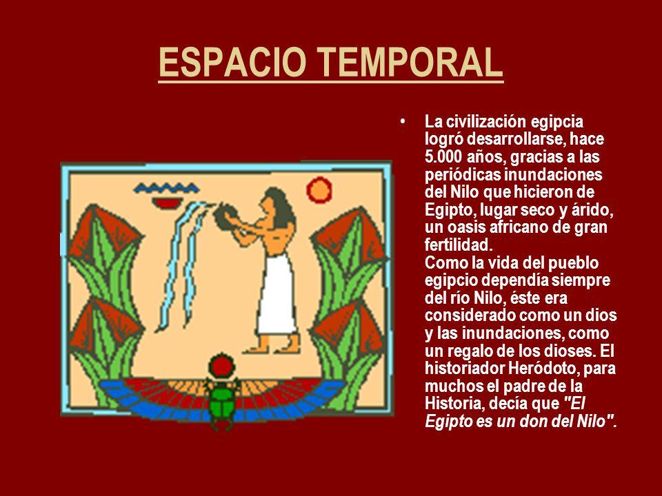 ESPACIO TEMPORAL La civilización egipcia logró desarrollarse, hace 5.000 años, gracias a las periódicas inundaciones del Nilo que hicieron de Egipto,