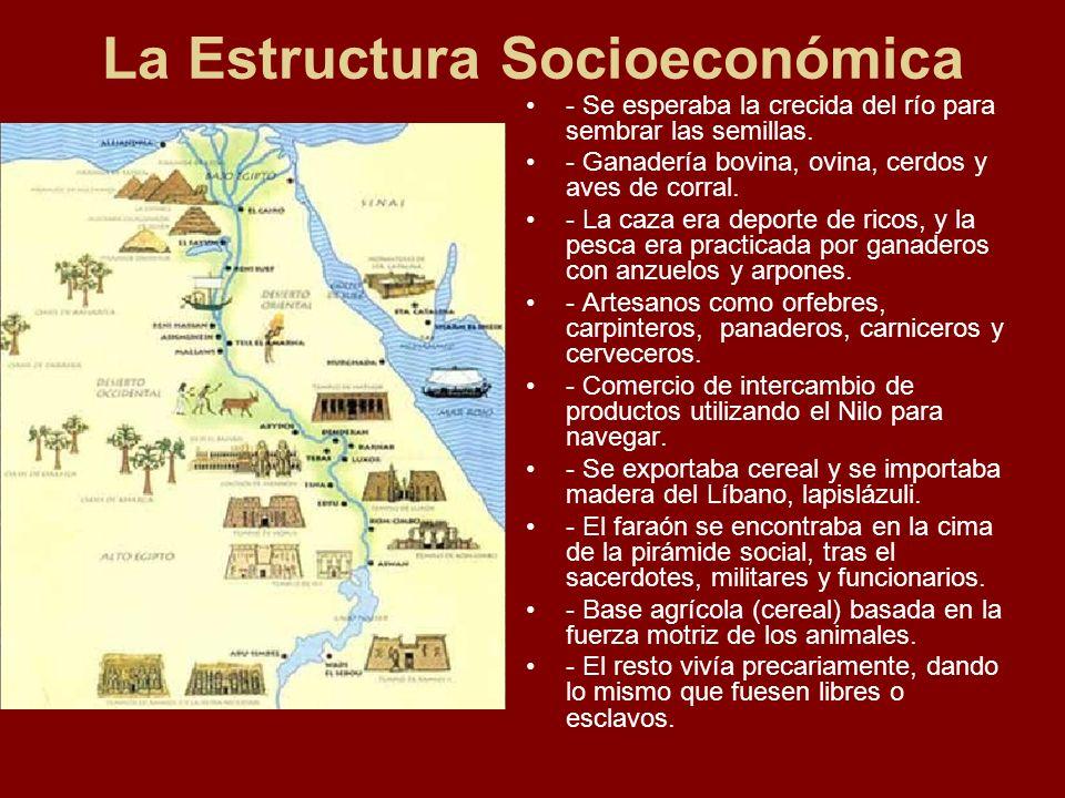 La Estructura Socioeconómica - Se esperaba la crecida del río para sembrar las semillas. - Ganadería bovina, ovina, cerdos y aves de corral. - La caza
