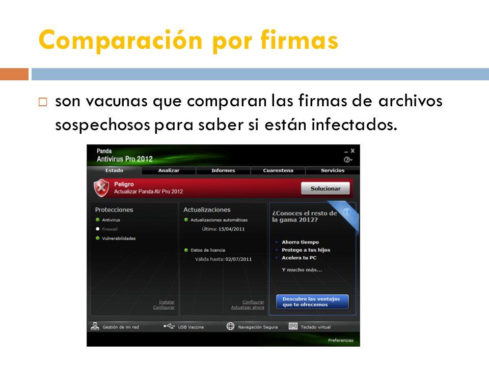 Comparación por firmas son vacunas que comparan las firmas de archivos sospechosos para saber si están infectados.