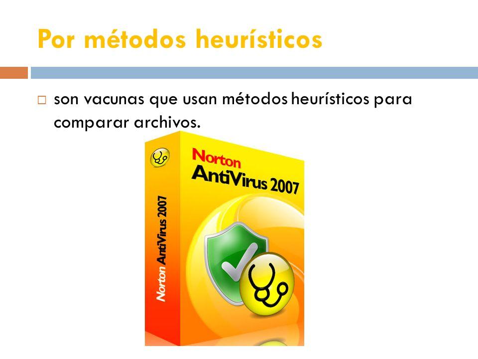 Por métodos heurísticos son vacunas que usan métodos heurísticos para comparar archivos.