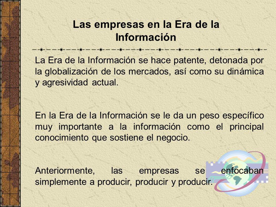 Las empresas en la Era de la Información La Era de la Información se hace patente, detonada por la globalización de los mercados, así como su dinámica
