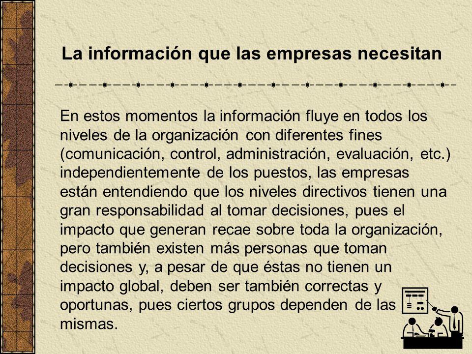 La información que las empresas necesitan En estos momentos la información fluye en todos los niveles de la organización con diferentes fines (comunic