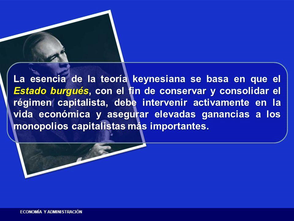 La esencia de la teoría keynesiana se basa en que el Estado burgués, con el fin de conservar y consolidar el régimen capitalista, debe intervenir acti
