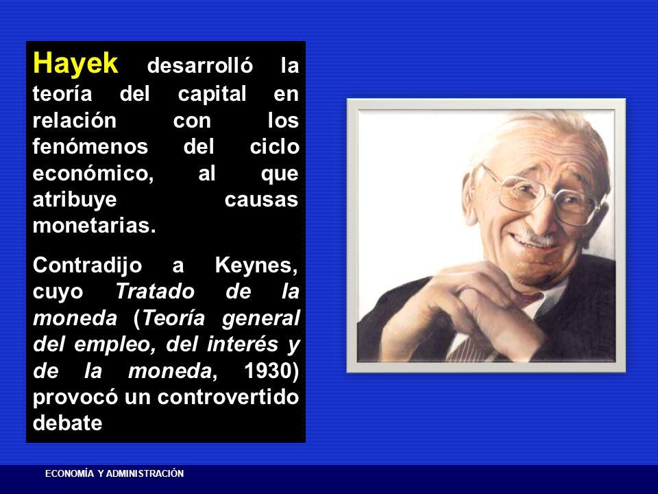 Hayek Hayek desarrolló la teoría del capital en relación con los fenómenos del ciclo económico, al que atribuye causas monetarias. Contradijo a Keynes