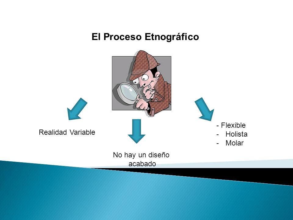 El Proceso Etnográfico - Flexible -Holista -Molar No hay un diseño acabado Realidad Variable