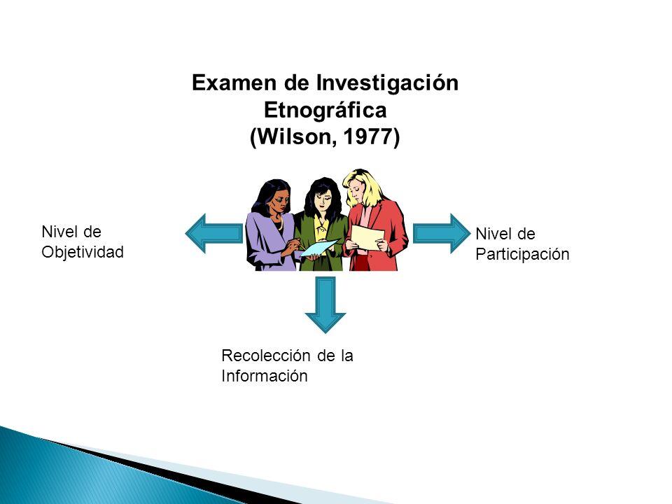 Examen de Investigación Etnográfica (Wilson, 1977) Nivel de Participación Recolección de la Información Nivel de Objetividad