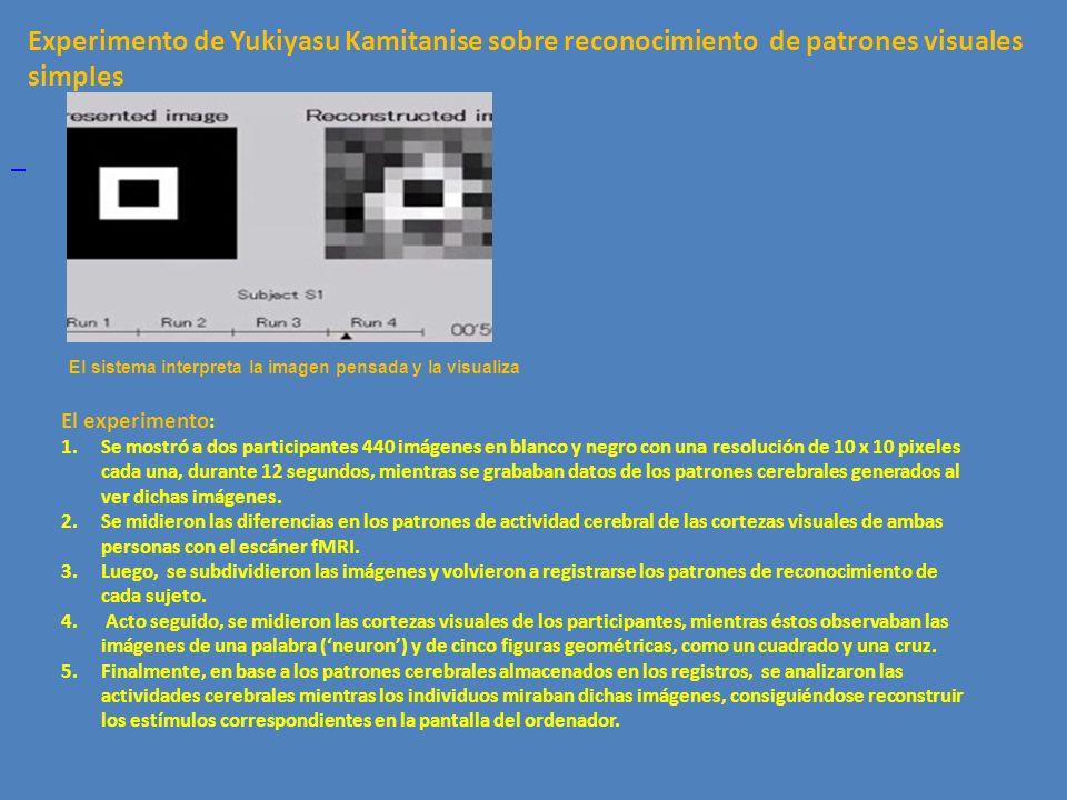El sistema interpreta la imagen pensada y la visualiza Experimento de Yukiyasu Kamitanise sobre reconocimiento de patrones visuales simples El experim