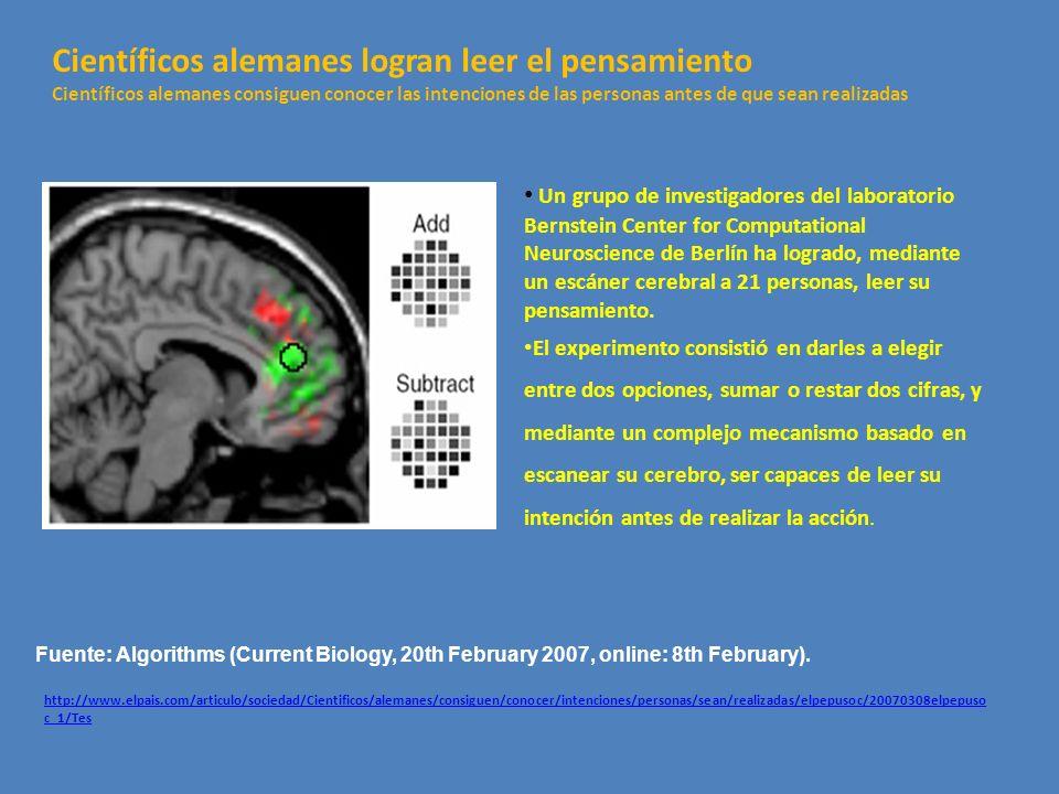 Un grupo de investigadores del laboratorio Bernstein Center for Computational Neuroscience de Berlín ha logrado, mediante un escáner cerebral a 21 per