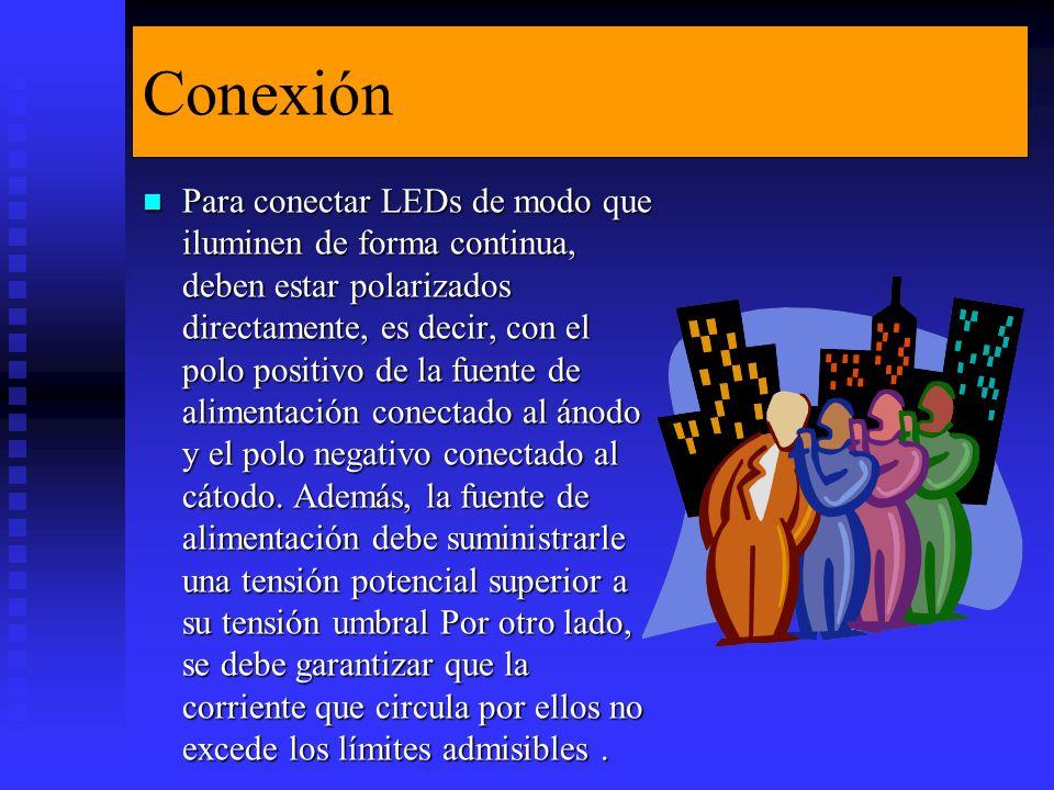 Conexión Para conectar LEDs de modo que iluminen de forma continua, deben estar polarizados directamente, es decir, con el polo positivo de la fuente de alimentación conectado al ánodo y el polo negativo conectado al cátodo.