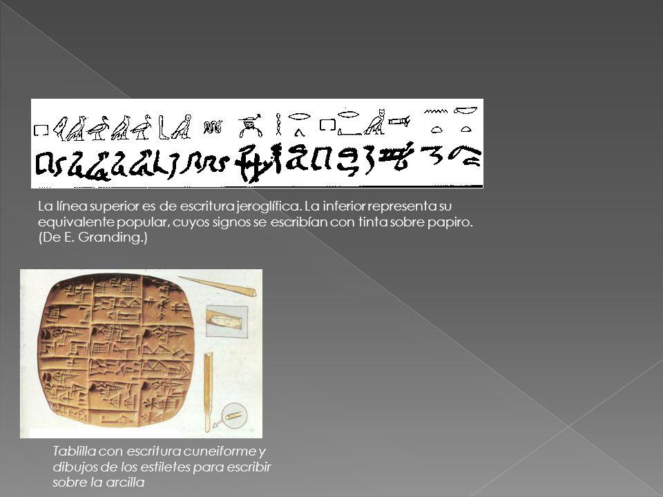 La línea superior es de escritura jeroglífica. La inferior representa su equivalente popular, cuyos signos se escribían con tinta sobre papiro. (De E.