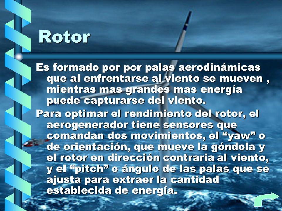 Rotor Es formado por por palas aerodinámicas que al enfrentarse al viento se mueven, mientras mas grandes mas energía puede capturarse del viento. Par