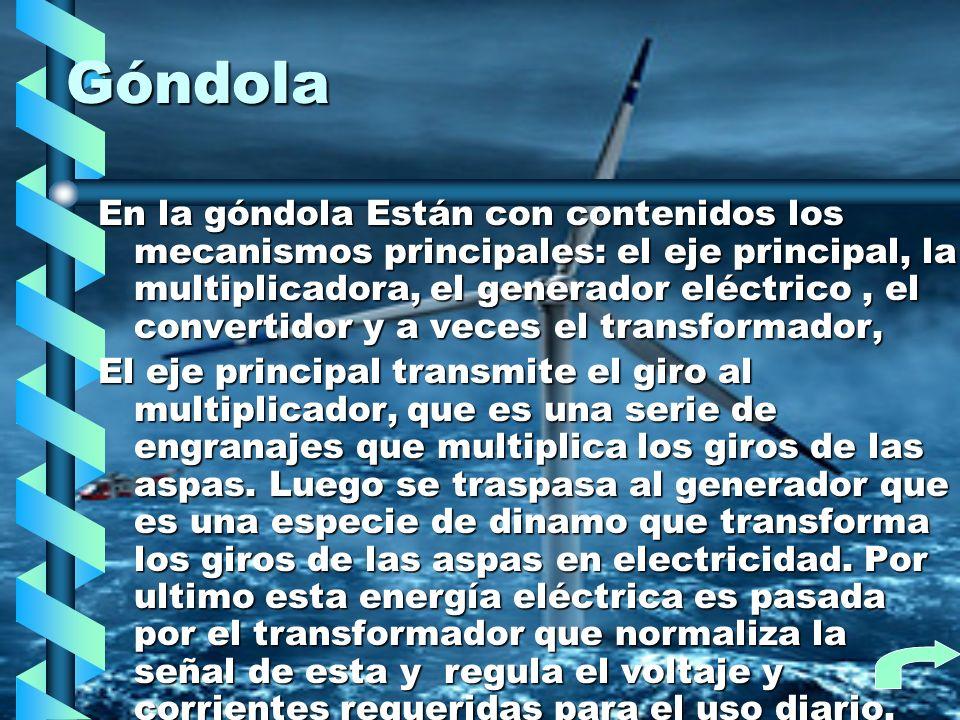Góndola En la góndola Están con contenidos los mecanismos principales: el eje principal, la multiplicadora, el generador eléctrico, el convertidor y a