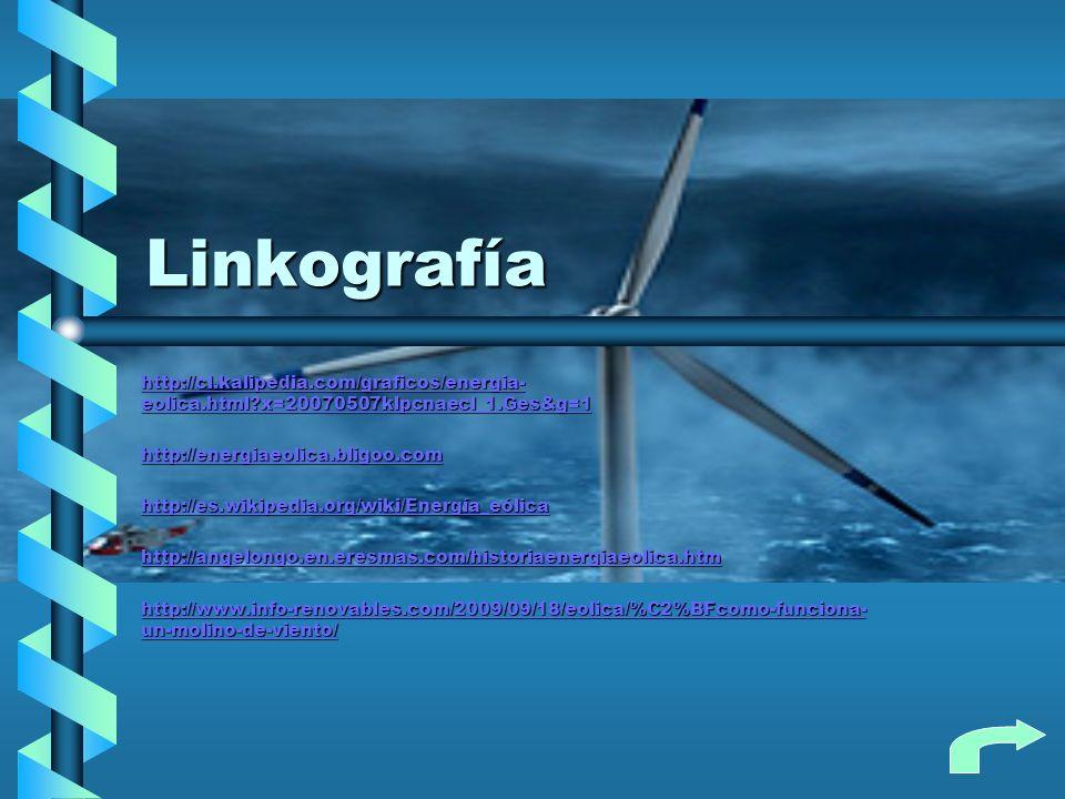 Linkografía http://cl.kalipedia.com/graficos/energia- eolica.html?x=20070507klpcnaecl_1.Ges&g=1 http://cl.kalipedia.com/graficos/energia- eolica.html?