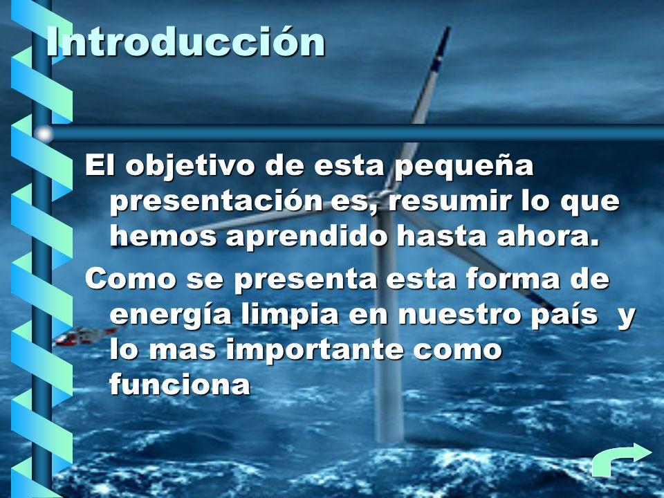 Energía eólica en Chile En la actualidad tenemos a dos estaciones generadoras trabajando en Chile: Alto Benguales, 2 MW comenzando a funcionar el 2001Alto Benguales, 2 MW comenzando a funcionar el 2001 Canela 1,18 MW de Endesa comenzando a funcionar a fines de 2007Canela 1,18 MW de Endesa comenzando a funcionar a fines de 2007