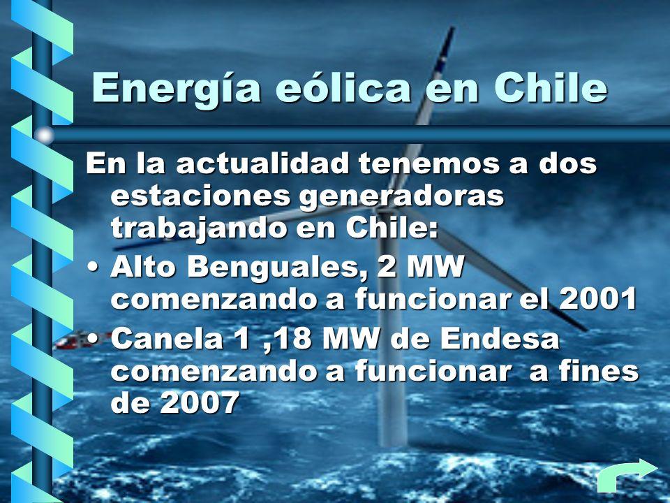 Energía eólica en Chile Existen en construcción 4 parques eólicos Canela 2Canela 2 MonteredondoMonteredondo TotoralTotoral Punta coloradaPunta colorada Lebu (cristalerías toro)Lebu (cristalerías toro) Produciendo un total de 200MW suministrando energía limpia a mas de 9000 hogares