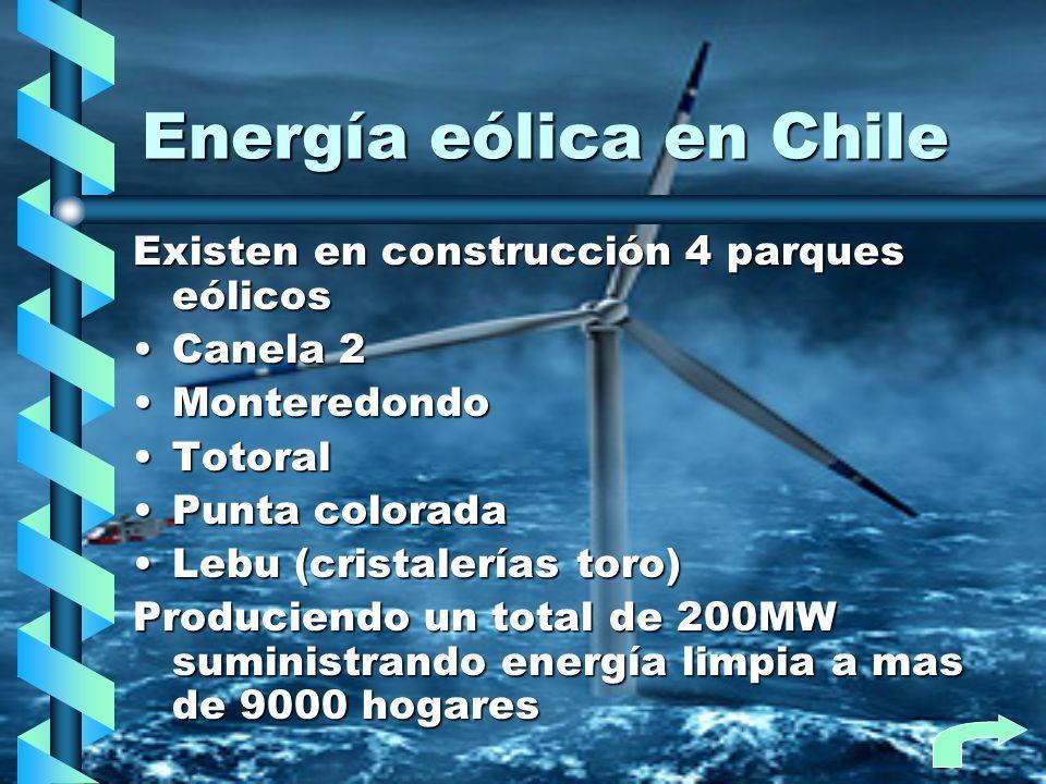 Energía eólica en Chile Existen en construcción 4 parques eólicos Canela 2Canela 2 MonteredondoMonteredondo TotoralTotoral Punta coloradaPunta colorad