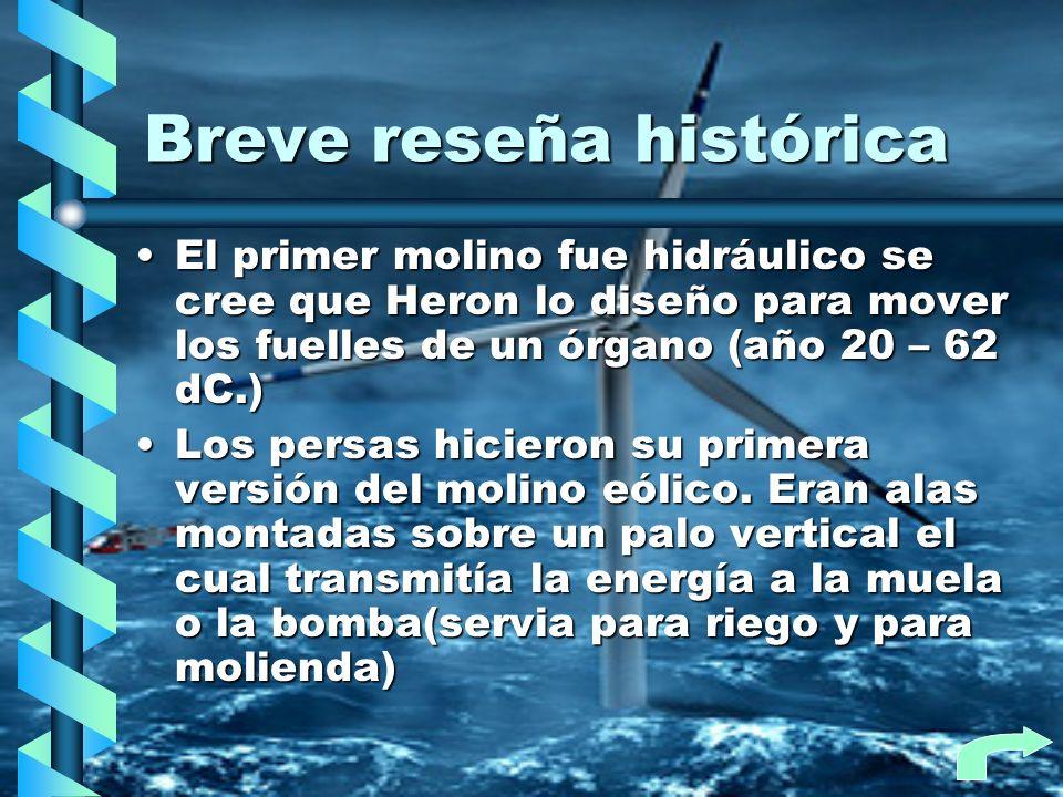 Breve reseña histórica El primer molino fue hidráulico se cree que Heron lo diseño para mover los fuelles de un órgano (año 20 – 62 dC.)El primer moli