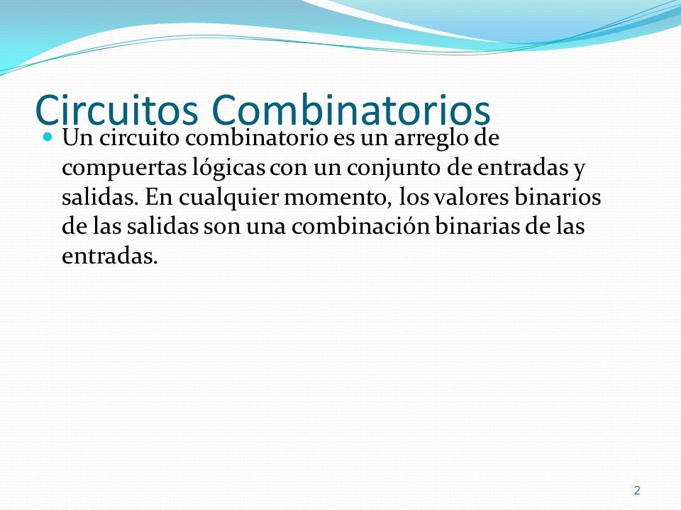 Circuitos Combinatorios Un circuito combinatorio es un arreglo de compuertas lógicas con un conjunto de entradas y salidas. En cualquier momento, los