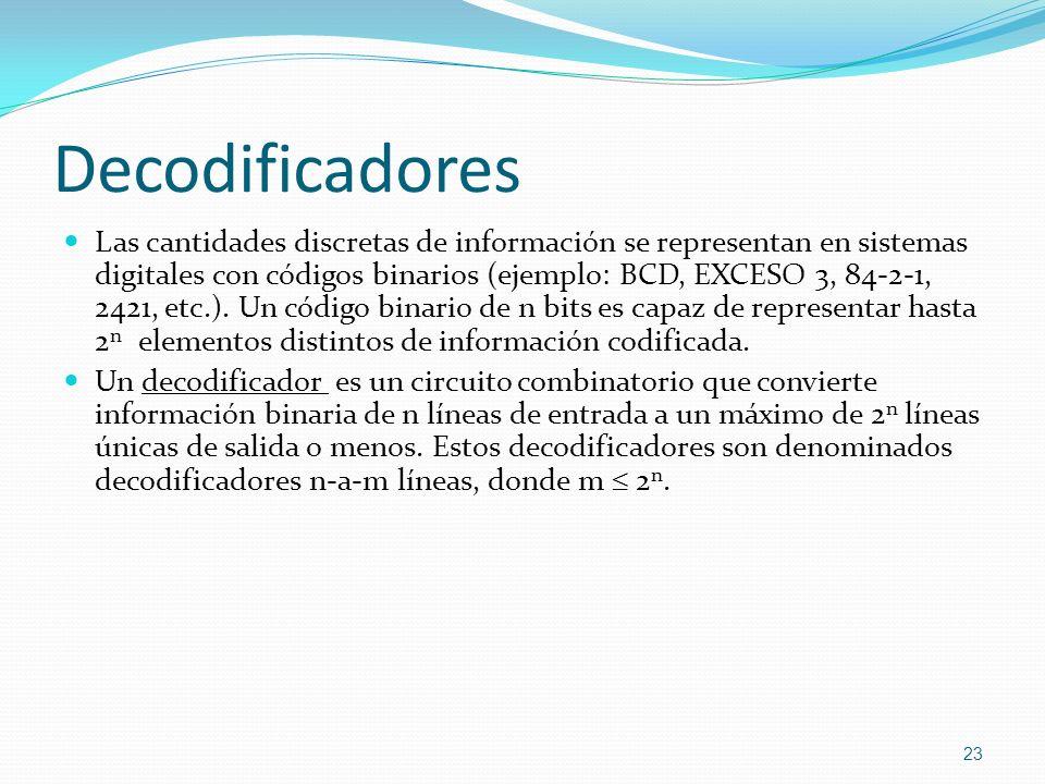 Decodificadores Las cantidades discretas de información se representan en sistemas digitales con códigos binarios (ejemplo: BCD, EXCESO 3, 84-2-1, 242
