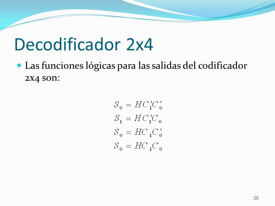 Decodificador 2x4 Las funciones lógicas para las salidas del codificador 2x4 son: 26