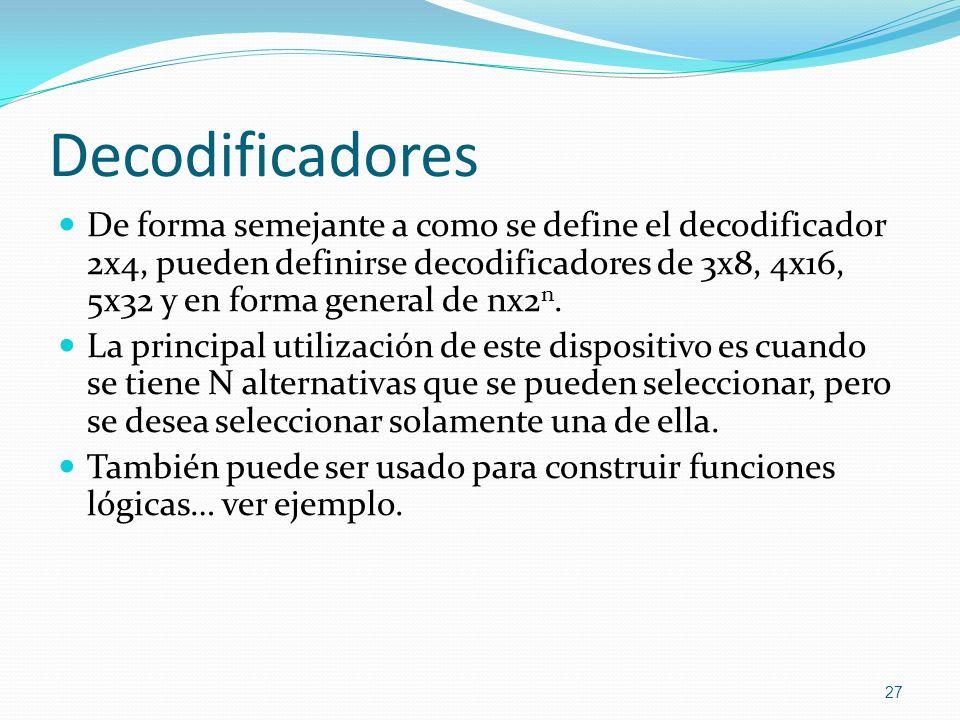 Decodificadores De forma semejante a como se define el decodificador 2x4, pueden definirse decodificadores de 3x8, 4x16, 5x32 y en forma general de nx