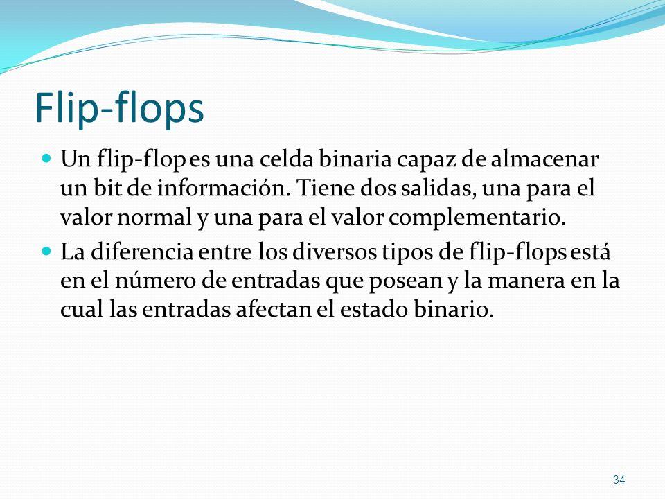 Flip-flops Un flip-flop es una celda binaria capaz de almacenar un bit de información. Tiene dos salidas, una para el valor normal y una para el valor
