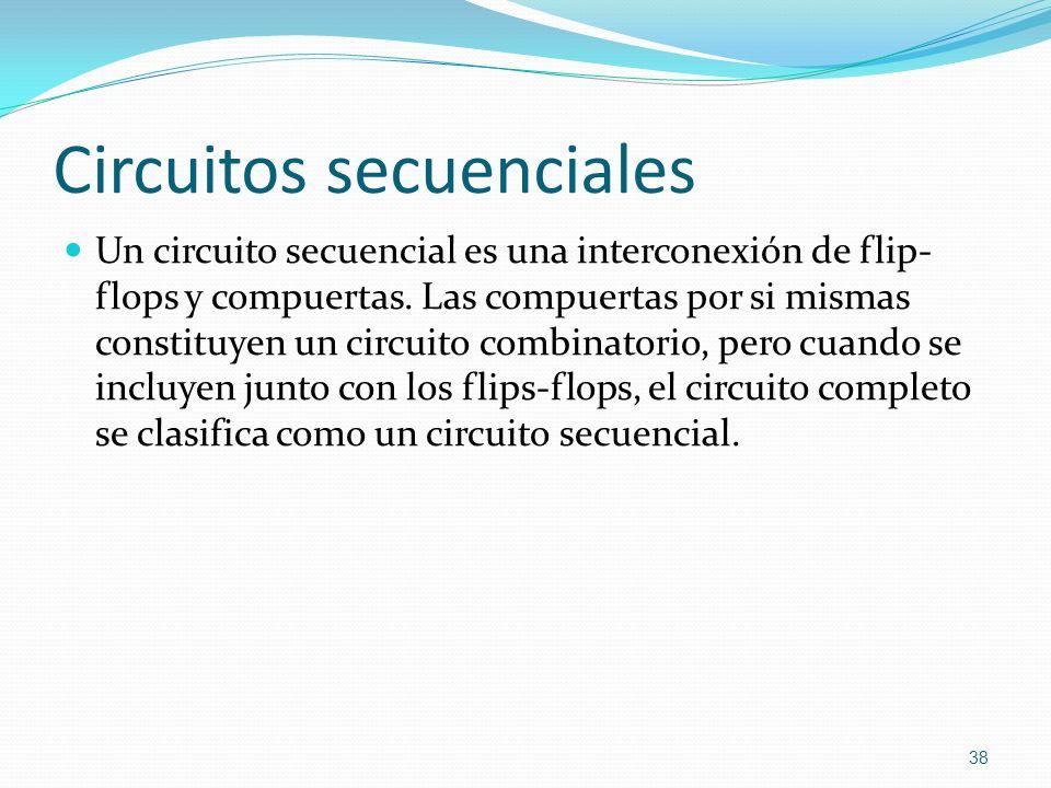 Circuitos secuenciales Un circuito secuencial es una interconexión de flip- flops y compuertas. Las compuertas por si mismas constituyen un circuito c