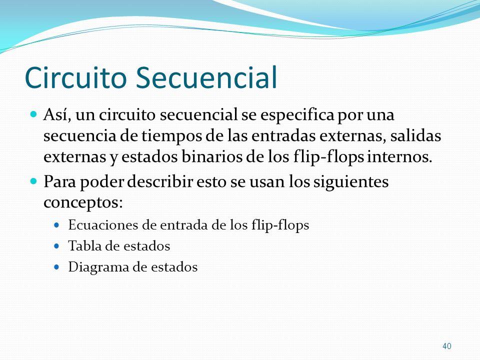 Circuito Secuencial Así, un circuito secuencial se especifica por una secuencia de tiempos de las entradas externas, salidas externas y estados binari