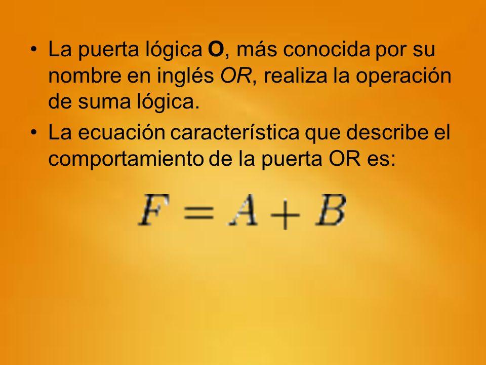 La puerta lógica O, más conocida por su nombre en inglés OR, realiza la operación de suma lógica. La ecuación característica que describe el comportam