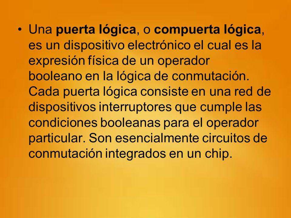 Una puerta lógica, o compuerta lógica, es un dispositivo electrónico el cual es la expresión física de un operador booleano en la lógica de conmutació