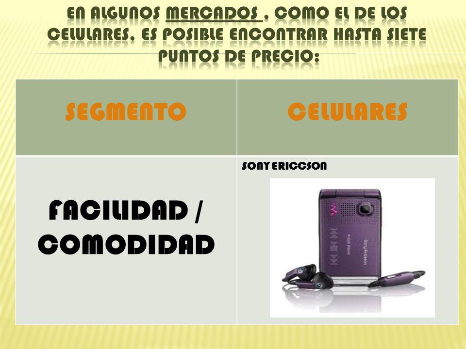 SEGMENTOCELULARES FACILIDAD / COMODIDAD SONY ERICCSON