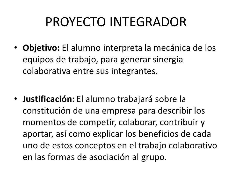 PROYECTO INTEGRADOR Objetivo: El alumno interpreta la mecánica de los equipos de trabajo, para generar sinergia colaborativa entre sus integrantes. Ju