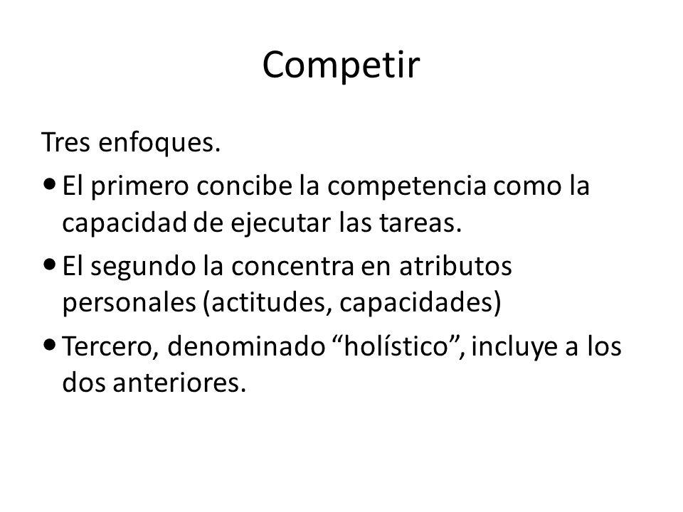 Competir Tres enfoques. El primero concibe la competencia como la capacidad de ejecutar las tareas. El segundo la concentra en atributos personales (a