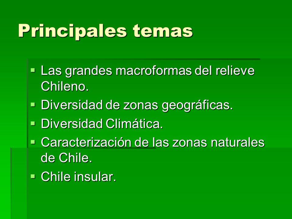 Principales temas Las grandes macroformas del relieve Chileno. Las grandes macroformas del relieve Chileno. Diversidad de zonas geográficas. Diversida