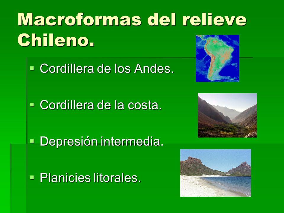 Macroformas del relieve Chileno. Cordillera de los Andes. Cordillera de los Andes. Cordillera de la costa. Cordillera de la costa. Depresión intermedi