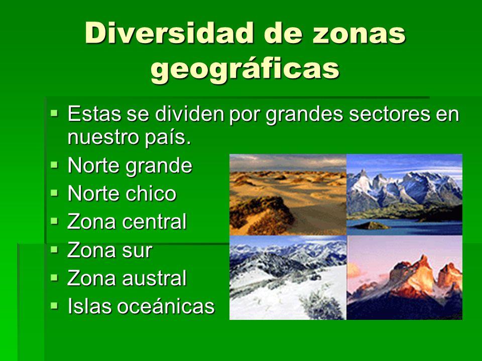 Diversidad de zonas geográficas Estas se dividen por grandes sectores en nuestro país. Estas se dividen por grandes sectores en nuestro país. Norte gr
