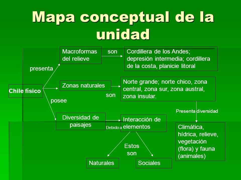 Mapa conceptual de la unidad Chile físico Macroformas del relieve Zonas naturales Diversidad de paisajes Cordillera de los Andes; depresión intermedia