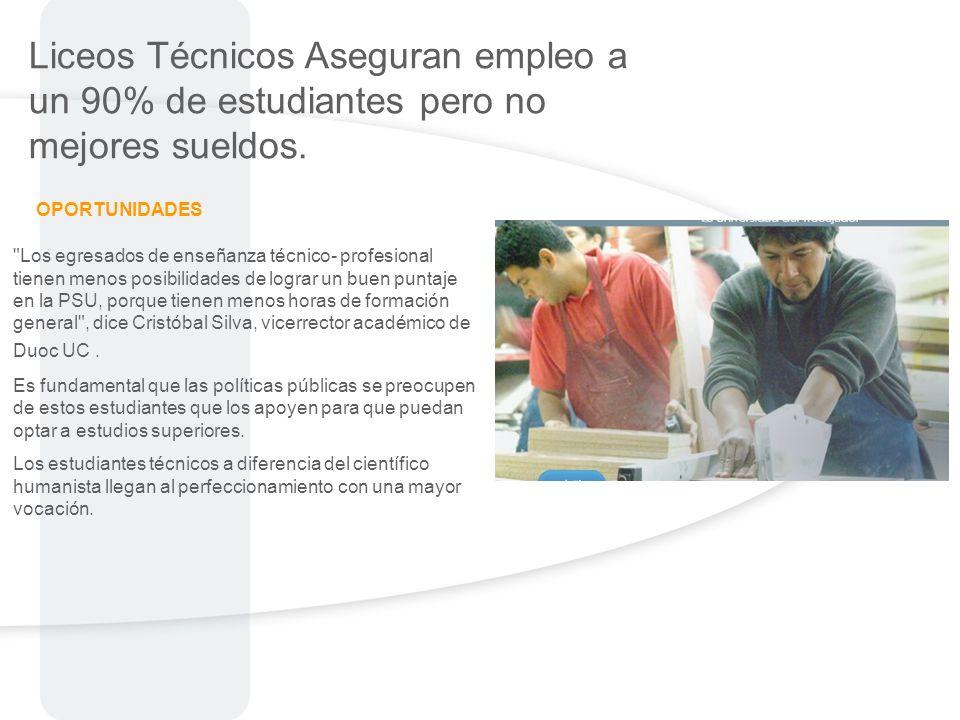 Liceos Técnicos Aseguran empleo a un 90% de estudiantes pero no mejores sueldos.