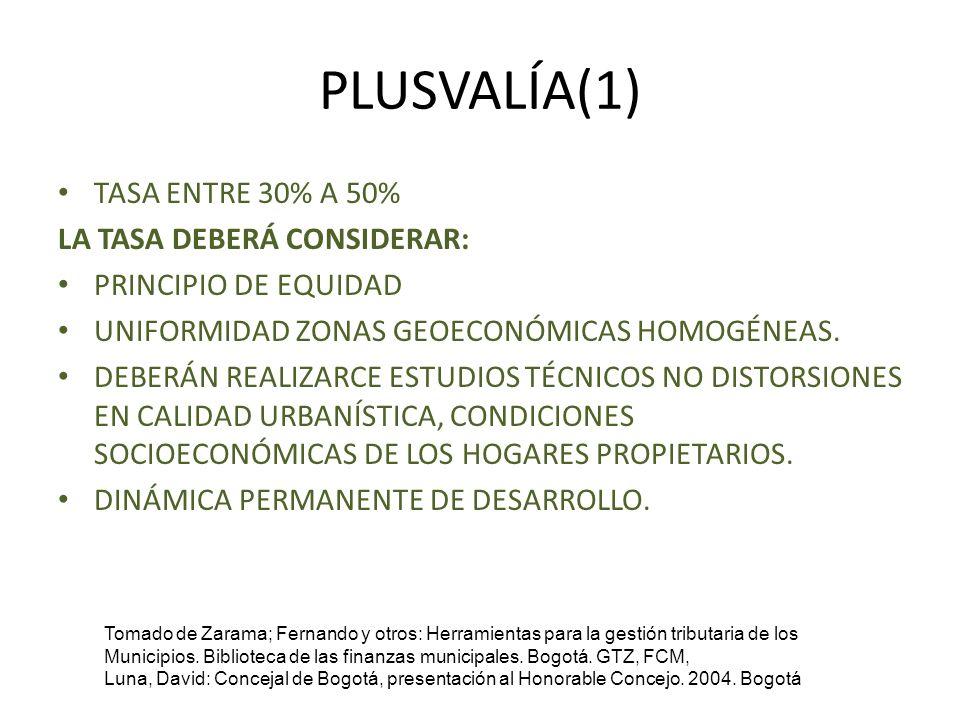 PLUSVALÍA(1) TASA ENTRE 30% A 50% LA TASA DEBERÁ CONSIDERAR: PRINCIPIO DE EQUIDAD UNIFORMIDAD ZONAS GEOECONÓMICAS HOMOGÉNEAS. DEBERÁN REALIZARCE ESTUD