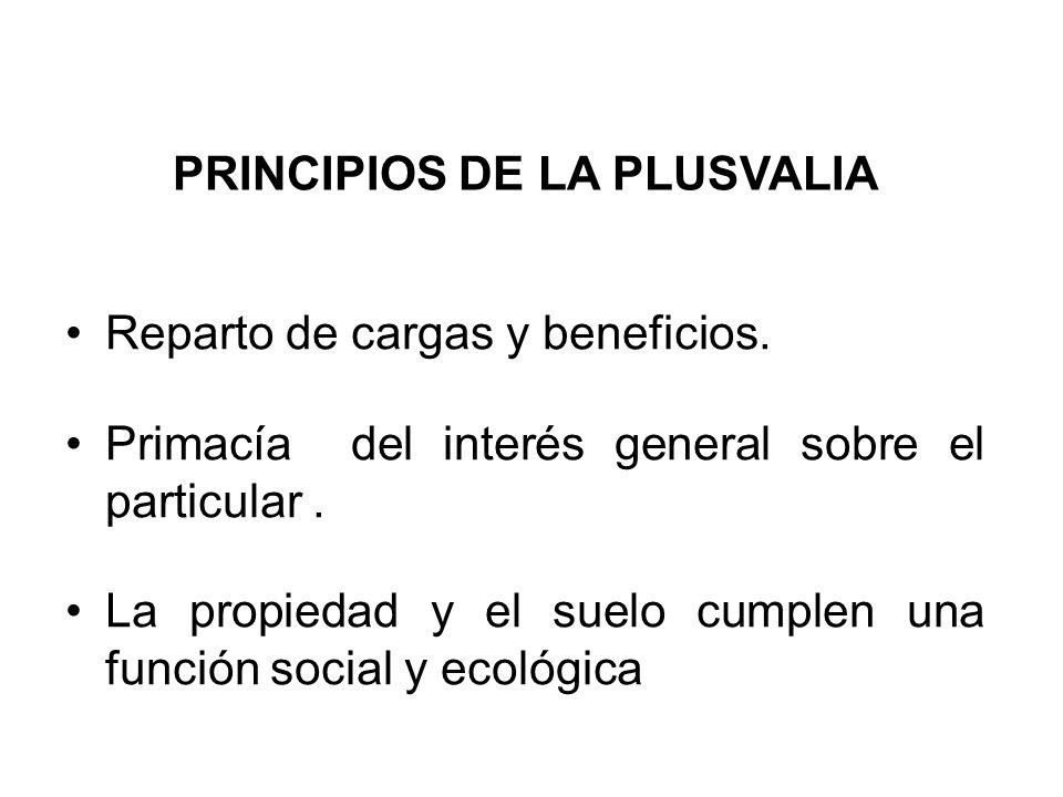 PRINCIPIOS DE LA PLUSVALIA Reparto de cargas y beneficios. Primacía del interés general sobre el particular. La propiedad y el suelo cumplen una funci